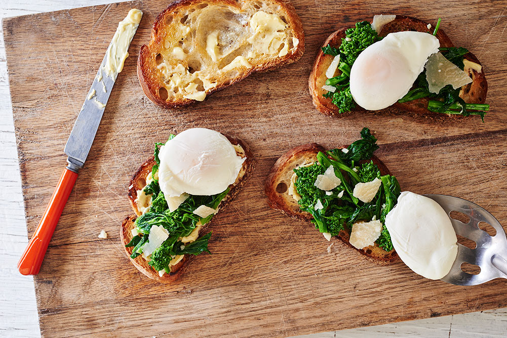 Andy Boy Broccoli Rabe Garlicky Toasts with Poached Egg