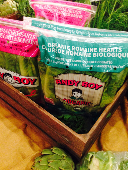 organic and romaine heart bags together