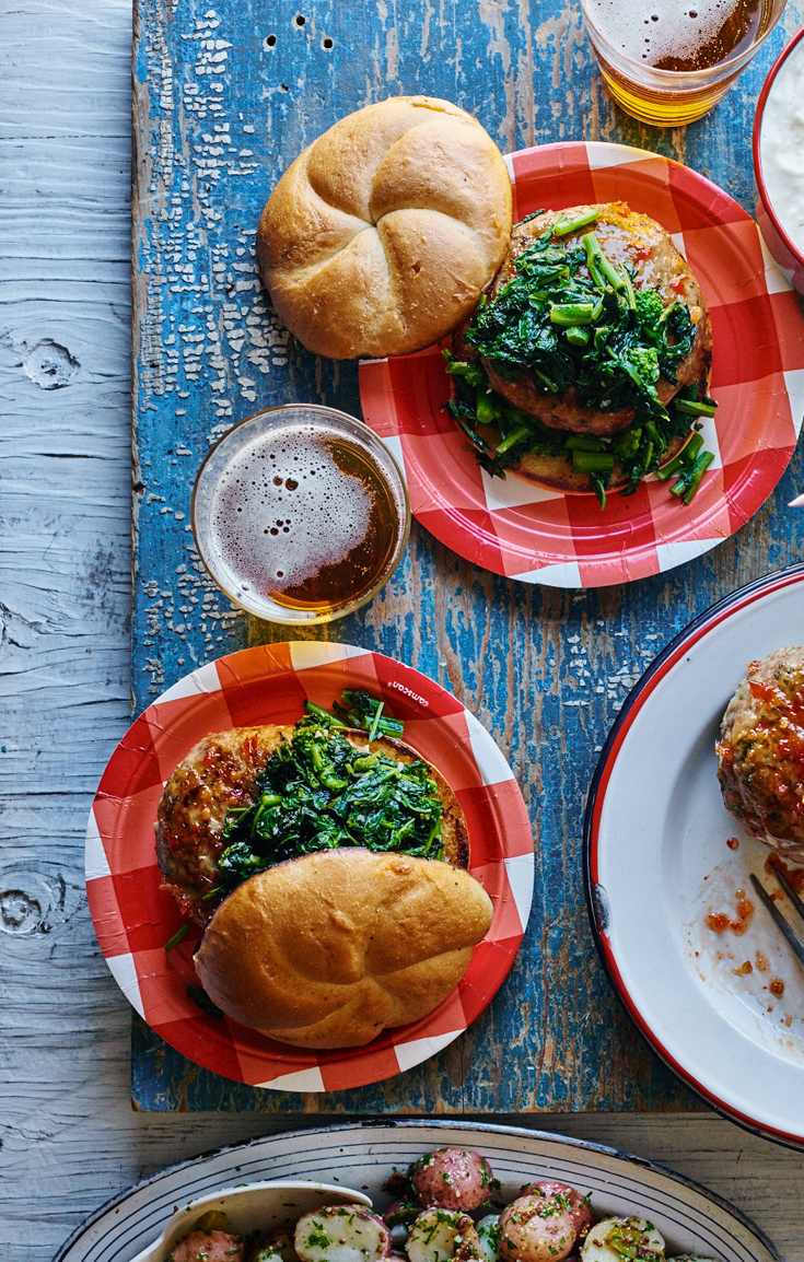 Broccoli Rabe Chicken Burger