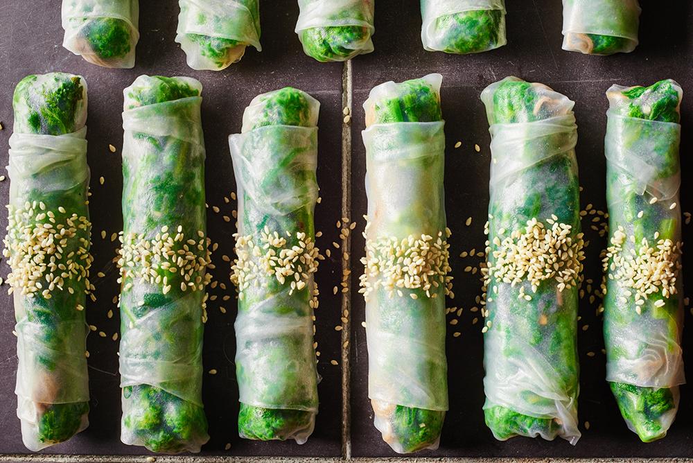 Broccoli Rabe Spring Rolls Platter