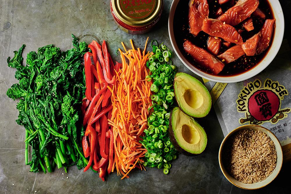 Broccoli Rabe Bibimbap with Salmon