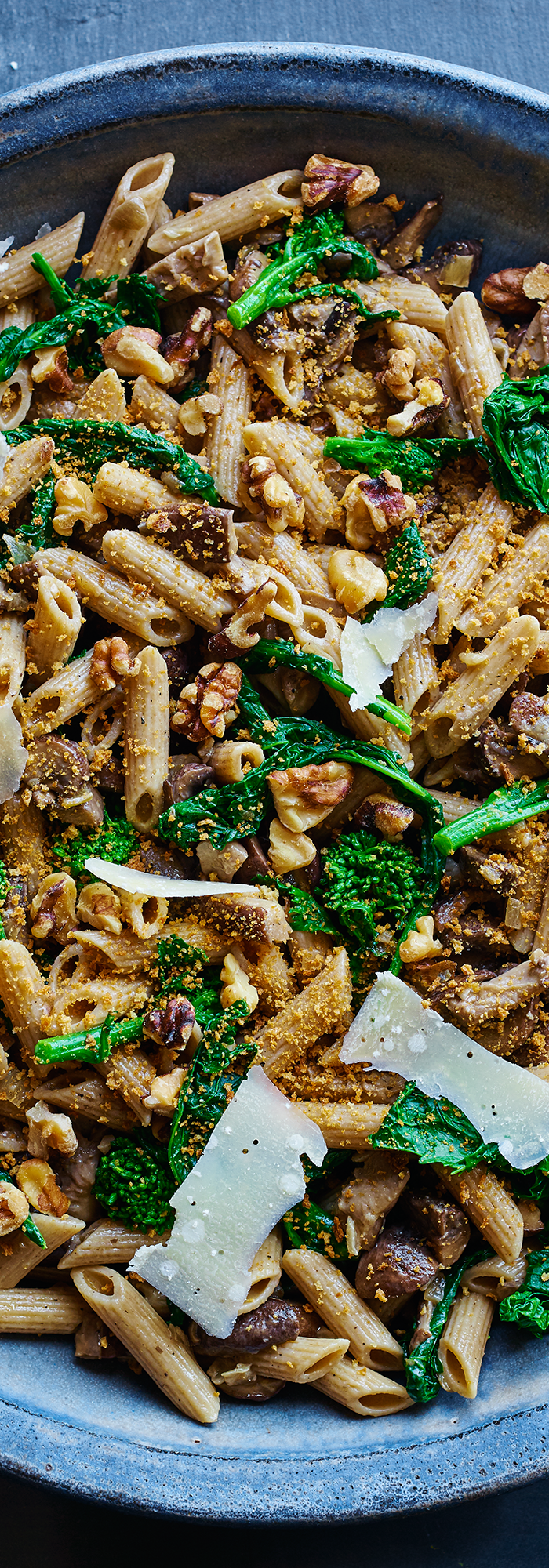 Penne Pasta with Broccoli Rabe and Mushrooms