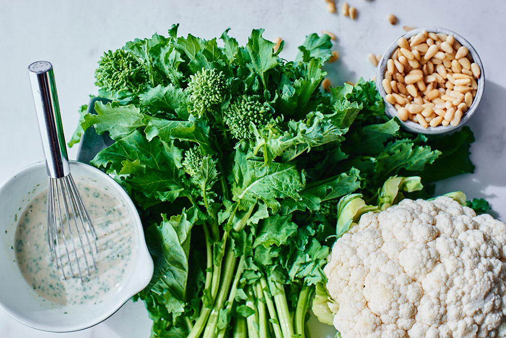 Broccoli Rabe and Crunchy Cauliflower with a Lemon Tahini Dressing