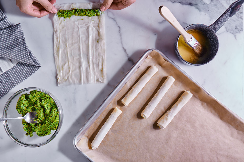 Broccoli Rabe and Goat Cheese Cigars