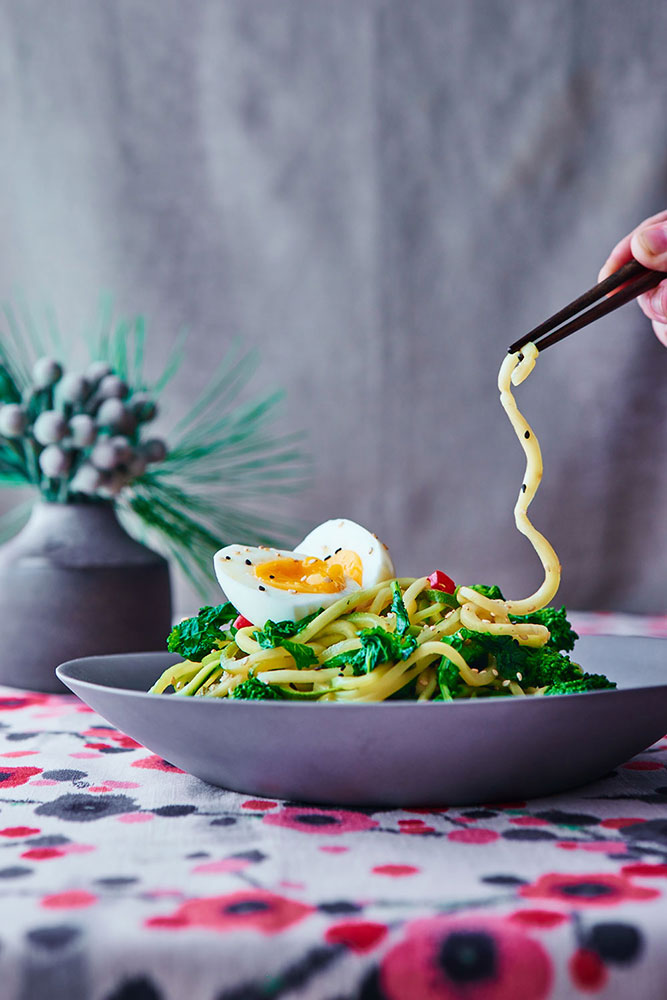 Broccoli Rabe Miso Ramen with Zucchini Noodles