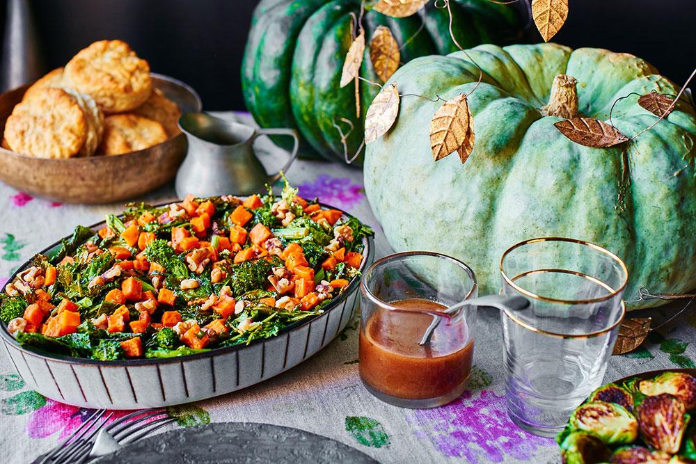 Broccoli Rabe and Warm Roasted Sweet Potato Salad with Cinnamon-Maple Vinaigrette